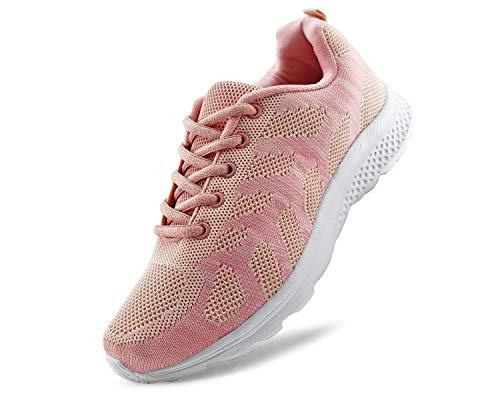 JABASIC Women's Breathable Knit Sports Running Shoes Casual Walking Sneaker(10, Pink)