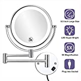 ALHAKIN 8.5 Inch LED Lighted Wall Mounted Makeup Mirror with 5X Magnification, Double Sided Swivel...