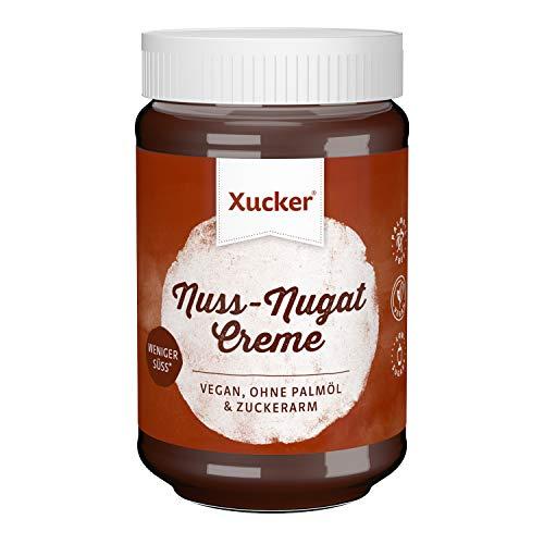 Xucker Nuss-Nugat Creme Brotaufstrich mit Erythrit, ohne Palmöl, zuckerarm, 33% Haselnussanteil, 300g Glas