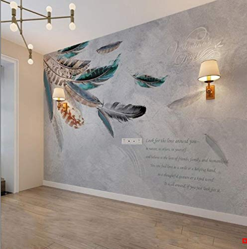 XHXI Papel tapiz de sofá de plumas creativas nórdicas Grano de madera 8D Fondo de TV Papel de pared Sala de estar Película papel Pintado de pared tapiz Decoración dormitorio Fotomural-250cm×170cm