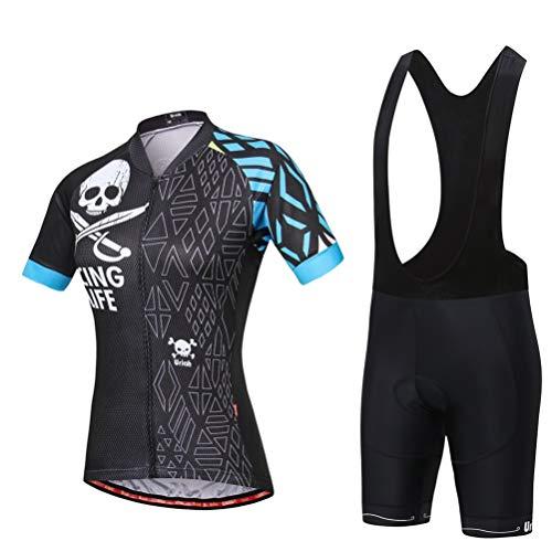 Uriah Women's Cycling Jersey Bib Shorts Black Set Short Sleeve Reflective with Rear Zippered Bag Skull Blue Size XL
