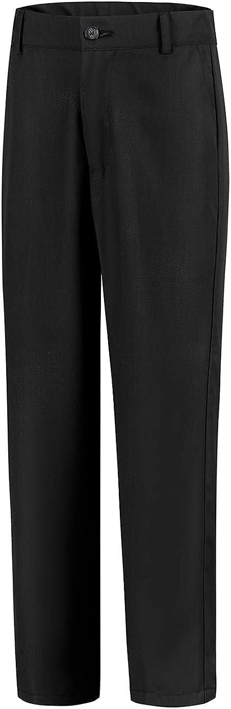 Lycody Boys' Flat Front Dress Pants Adjustable Waist School Uniforms Pants