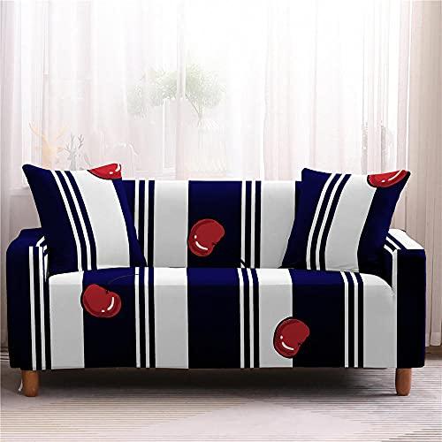 Funda Sofa 4 Plazas Chaise Longue Rayas Blancas Azul Marino Fundas para Sofa Universal,Cubre Sofa Ajustables,Fundas Sofa Elasticas,Funda de Sofa Chaise Longue,Protector Cubierta para Sofá
