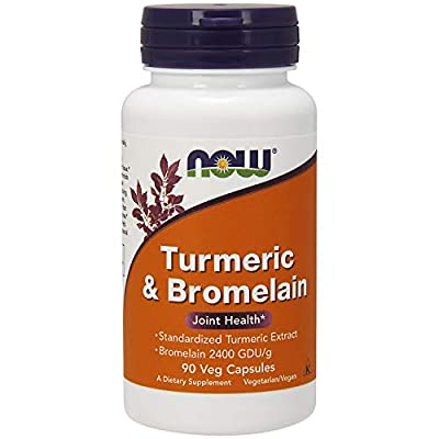 NOW Supplements, Turmeric & Bromelain (Standardized Turmeric Extract) with Bromelain 2400 GDU/g, 90 Veg Capsules