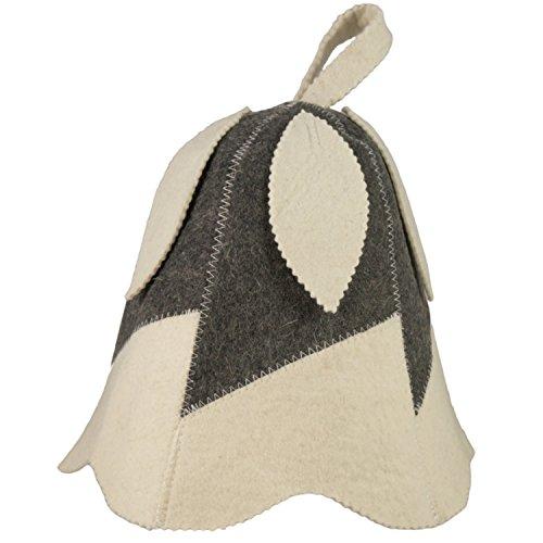 Saunahut - Modell Glöckchen (weiß) - 100% Baumwolle - Saunamütze aus Filz für Damen und Herren