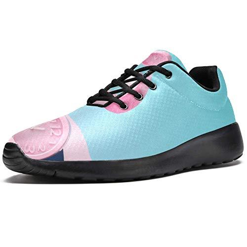 TIZORAX Sport-Laufschuhe für Herren, drei rosafarbene Wecker, modische Sneaker, Netzstoff, atmungsaktiv, Mehrfarbig - mehrfarbig - Größe: 39 1/3 EU