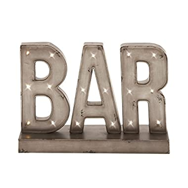 Deco 79 48648 Superb Metal Led Bar Sign, 16  W x 12  H
