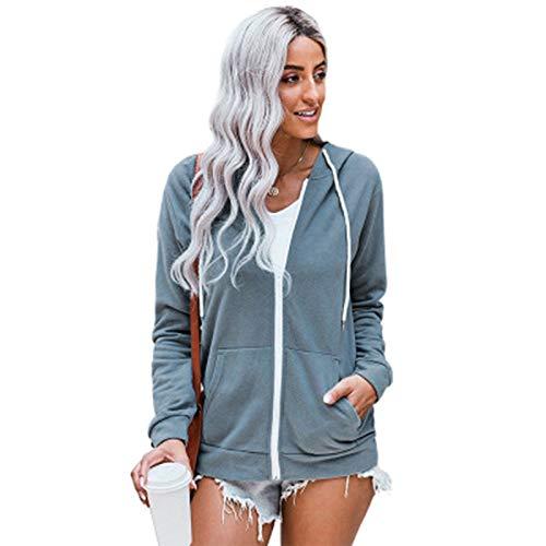 SLYZ Cárdigan para Mujer Suéter De Manga Larga Cárdigan con Cremallera De Bolsillo con Capucha De Color Sólido para Mujer Chaqueta Suéter para Mujer