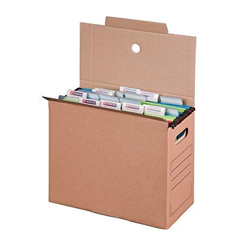 Smartbox Pro Archiv-Transportbox mit Automatikboden für Hängemappen, 10er Pack, braun