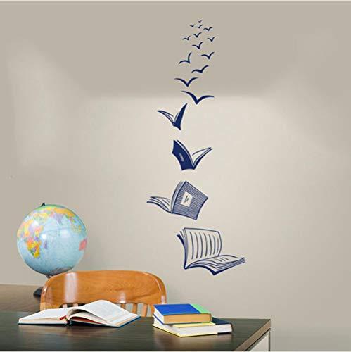 Axlgw Open Boek Vlieg Vogels Muursticker Bibliotheek Klas Lezen Boek Studie Dier Muursticker School Slaapkamer Vinyl Home Decor Grootte: 56Cmhighx22Cmwide