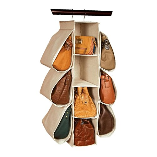 LONGTEAM Hanging Purse Handbag Organizer Homewares Nonwoven 10 Pockets Hanging Closet Storage Bag