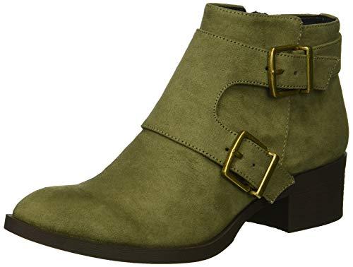 Kenneth Cole REACTION Damen Re-Buckle Moto Ankle Boot Stiefelette, olivgrün, 36 EU