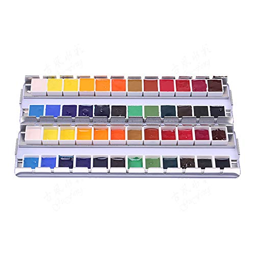 DUOKEAI 12/24/36/48Pcs Empty Full Pan Plastic Half Pan Watercolor Tins Fit for Watercolor Oils Acrylics Palette Travel Tins Paint Case(Half Pan 2ml 12pcs)