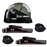RV Wholesale Direct Dish Bundle DTP4900 Tailgater PRO Premium Satellite TV Antenna w/ 2 Wally Receivers with Additional 50' Cable (RWDCable50)
