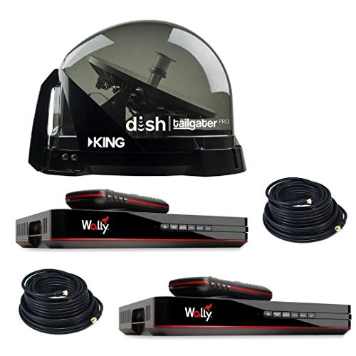 RV Wholesale Direct Dish Bundle DTP4900 Tailgater PRO Premium Satellite TV Antenna w/ 2 Wally Receivers with Additional 50