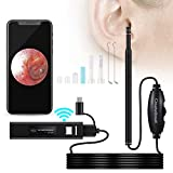 Ear Cleaning Endoscope,WiFi 3 in 1 Borescope Inspection Ear Wax Remover Tool 1.3Megapixels HD Waterproof Camera with 6 Adjustable LED,Compatible for IOS Iphone Ipad Mac OTG Android Micro USB PC(Black)