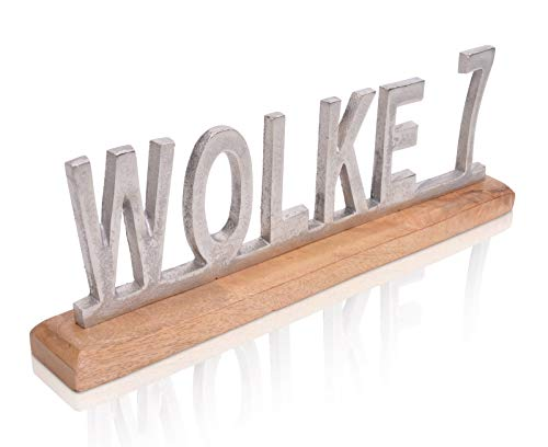 Chiccie decoratieve belettering Wolke 7 op mangohout - 50 cm van metalen staander