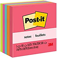 Post-it® Notes 654-5PK, 3 in x 3 in (76 mm x 76 mm) Neon Colors