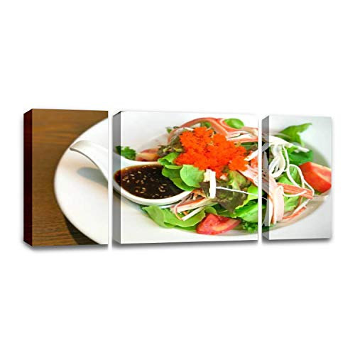 CCArtist Dieting Food Fresh Vegetable Salad with Imitation Crab Stick tobiko Wall Decor Print on Canvas Modern Artwork Living Room Bedroom Painting Art Wall