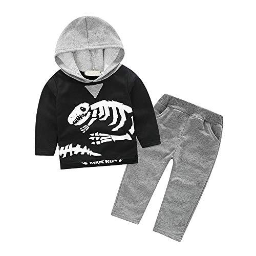 ggudd Bebes Niños Trajes Hood Camisa de Entrenamiento Tops y Pantalones Dinosaurio Impreso Serie de Ropa(Gris,3-4 años)