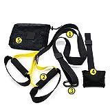 HUI JIN Sling Trainer Set con anclaje de puerta ajustable Fitness suspensión para viajes y para entrenamiento en interiores y exteriores, color negro