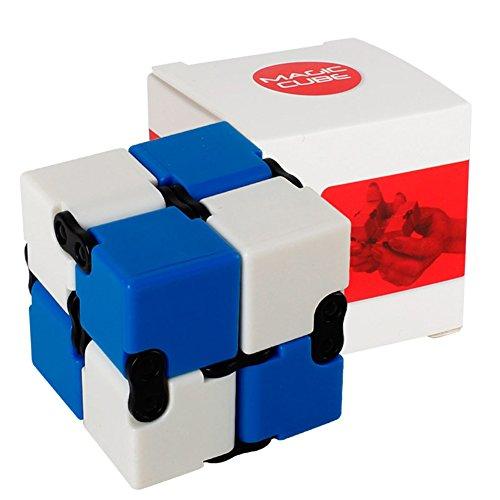 Faironly Infinitely Changing Magic Cube Kreative Kunststoff Faltwürfel für Autismus und ADHS, Linderung von Angstdruck und Druckminderung Geschenk Blue + White