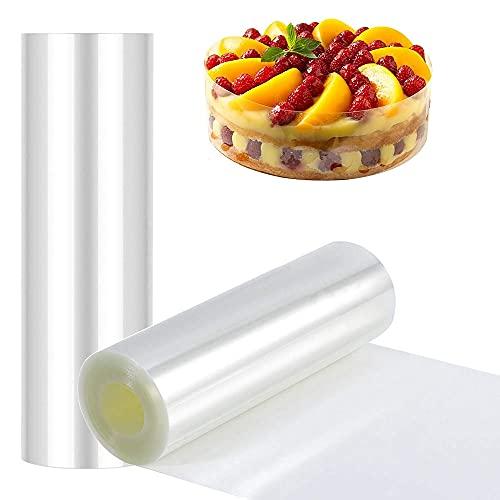 YOUYIKE 2 Rollos de Acetato Transparente Pastel,Película Transparente para Pasteles,para Decoración de Pasteles,Repostería,Chocolate de Mousse,Mousse de Fresa (8cm+10cm)