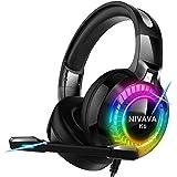 NIVAVA K6 ゲーミングヘッドセット ps4 ヘッドホン LEDマイク付き 有線 軽量 通気 高音質 ノイズキャンセリング 重低音強化 (黒)