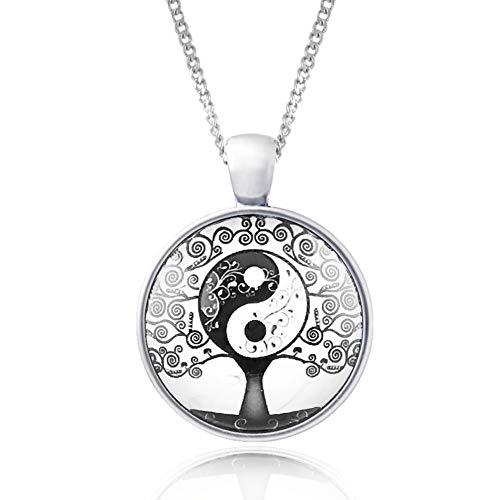 Klimisy - Collar con colgante del árbol de la vida, Yin Yang - Buy one & Plant one Tree - Cadena de acero inoxidable de alta calidad con colgante de cristal.