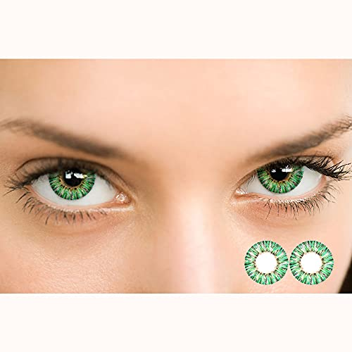 Lu sisters Color Contacts for Eyes Cosplay Party,Cosplay Makeup,Makeup for Party,Cosplay,Halloween, Party Toy,Gifts for Women Party (Green)