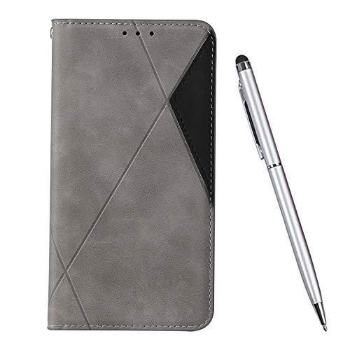 TOUCASA Kompatibel mit iPhone XS/X Hülle (5,8 Zoll), Handyhülle Brieftasche PU Leder Flip Case [Ständer Kartenfach] [Taktile Stitching] Handytasche Klapphülle Kratzfestes Schutz Lederhülle (Grau)