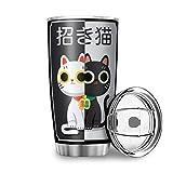 Generic Branded Botella de agua Tumbler con diseño de gato de la suerte japonés, en blanco y...