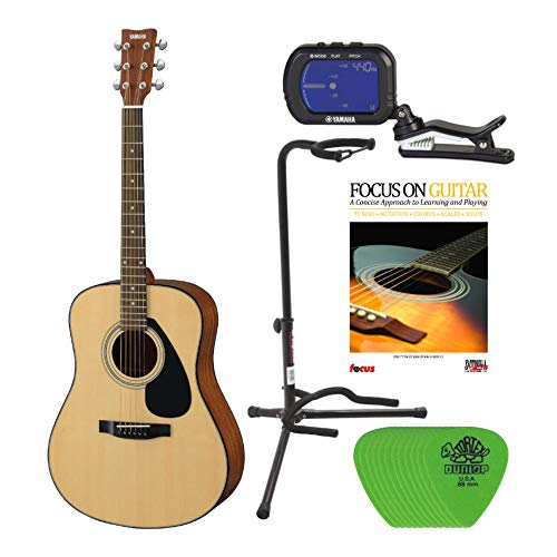 Yamaha F325 Spruce Top Acoustic Guitar Bundle with Guitar Picks, Tuner, Focus Book and Tripod Stand (5 Items)