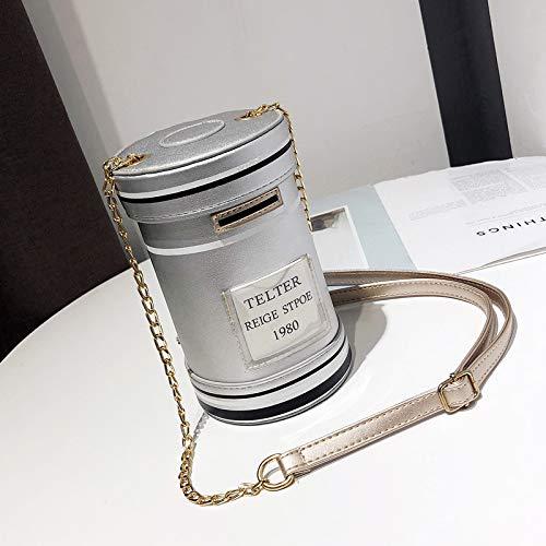 SAOGA Kleine tas vrouwelijke tij persoonlijkheid creatieve brievenbus pakket ins super vuur meisje ketting schouder messenger tas, zilver