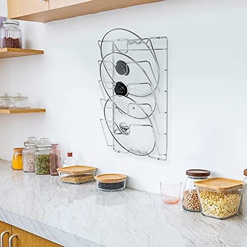 Soporte y organizador para tapas de cacerola, montaje en pared/puerta, armario de cocina, cacerolas, tapas de almacenamiento para cubiertas de ollas y tapas de cacerola (capacidad para 5 tapas)