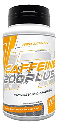 Trec Nutrition Caffeine 200 Plus Anhydrous Caffeine Increases Performance and Endurance Muscle Building Sports Bodybuilding - 60 Capsules
