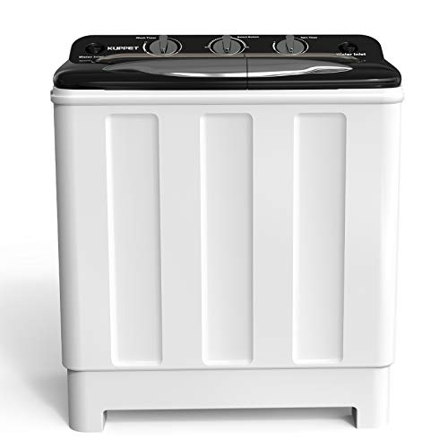 Kenwell Compact Twin Tub Portable Mini Washing Machine 24lbs Capacity, Washer(16.5lbs)&Spiner(7.5lbs)/Built-in Drain Pump/Semi-Automatic (White&Black)