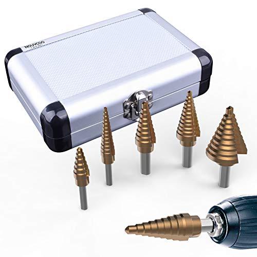 ETEPON Brocas Escalonadas para Metal, HSS de Titanio Cobalto Acero de Alta Velocidad, 1/4' y 3/8', 5 Piezas NC03