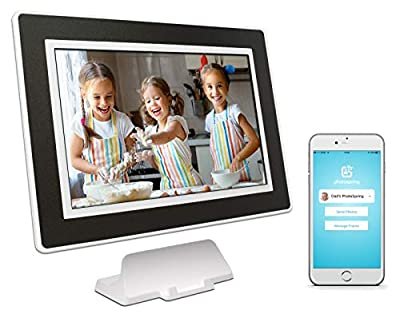 PhotoSpring 10-inch WiFi Cloud Digital Picture Frame - Battery, Touch-Screen, Plays Video and Photo Slideshows, HD IPS Display, iPhone & Android app