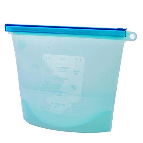 18x 19cm Eco Friendly re-zip silicone Conservazione Degli Alimenti Borsa freschezza riutilizzabile vuoto frigorifero Fresh contenitore per merenda frutta e verdura Sandwich blu