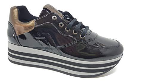 Frau 5554 Sneakers Zeppa Dames lak zwart leer brons