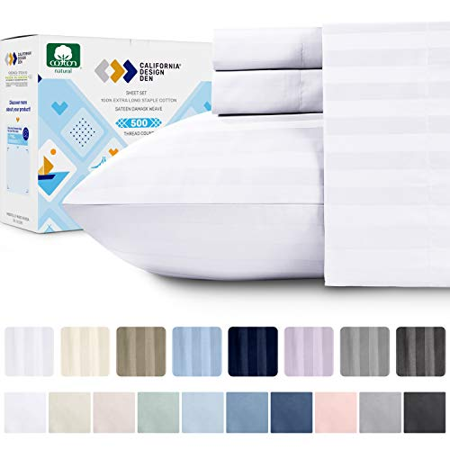 Premium Quality 500 Thread Count 100% Pure Cotton Sheets - 4 Piece White Color King Size Dobby Damask Stripe Extra Long-Staple Cotton Sheet for Bed, Fits Mattress 16'' Deep Pocket Sateen Weave Set