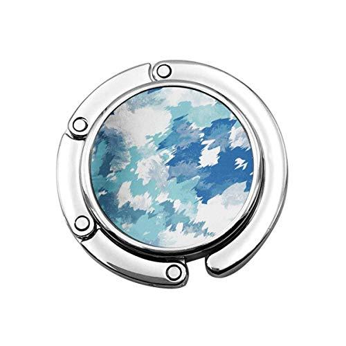 Percha plegable para bolso de mano, gancho para la mesa del coche,Folle bolso almacenamiento azul Camo Tie Dye diseño índigo con efecto acuarela Shibori y conceptos azul marino abstracto artístico