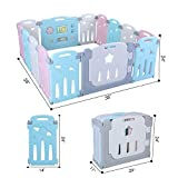 LAZY BUDDY Baby Playpen, 14 Panel Foldable Kids Activity Center Play Yard, Adjustable Shape, with Game Gate &Double Lock Gate Bar, Toddler Boys Girls Fun Time Home Indoor Outdoor Fence