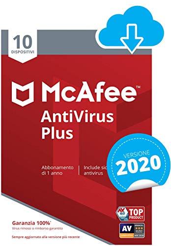 McAfee AntiVirus Plus 2021, 10 Dispositivi, 1 Anno, PC Mac Smartphone Tablet, Codice d Attivazione via Email