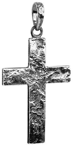 Kuzzoi Silber Kreuz Anhänger für Ketten, massivem 925er Sterling Silber für Halsketten, 54 mm hoch, 7g schwer, sehr hochwertig und exklusiv (schwarz, Oxidiertes Silber)