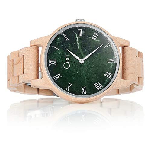 Cari Damen & Herren Holzuhr mit Schweizer Uhrwerk - Holz-Armbanduhr Dublin-111 (Ahornholz beige)