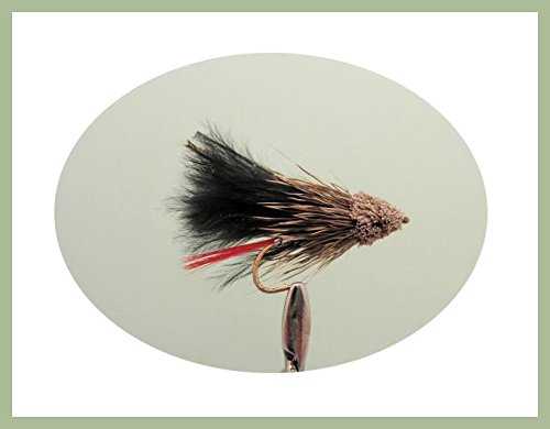 Troutflies UK Ltd Stößel Minnow Forelle Fliegen, 6Schwarz Muddlers, Wahl der Größe, Fly Angeln