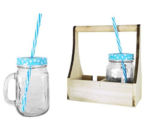 takestop® BARATTOLI Bicchieri Cannuccia con Manico 420 ml Pois Set 2 Pezzi Maniglia Coperchio DIVISORE in Legno Tazza Boccale Vetro Barattolo BARATTOLI Jar Colore Casuale