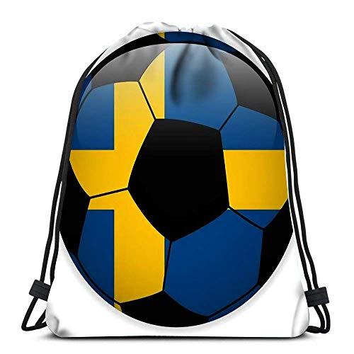 WH-CLA Bolsas De Cordones Unisex,Bandera De Suecia con Balón De Fútbol Cómodo Mochila Cordónes Multiusos Bolsas con Cordón De Gimnasio Durable Gimnasia Saco Bolsa para Deportes Escuela Viajar